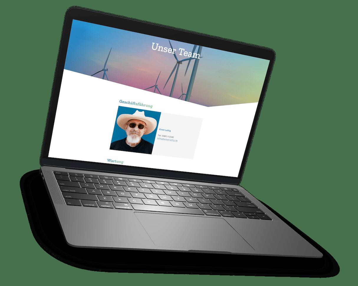 """Screendesign der Unterseite """"Kontakt"""" auf einem schwebendem MacBook Pro-Mockup"""