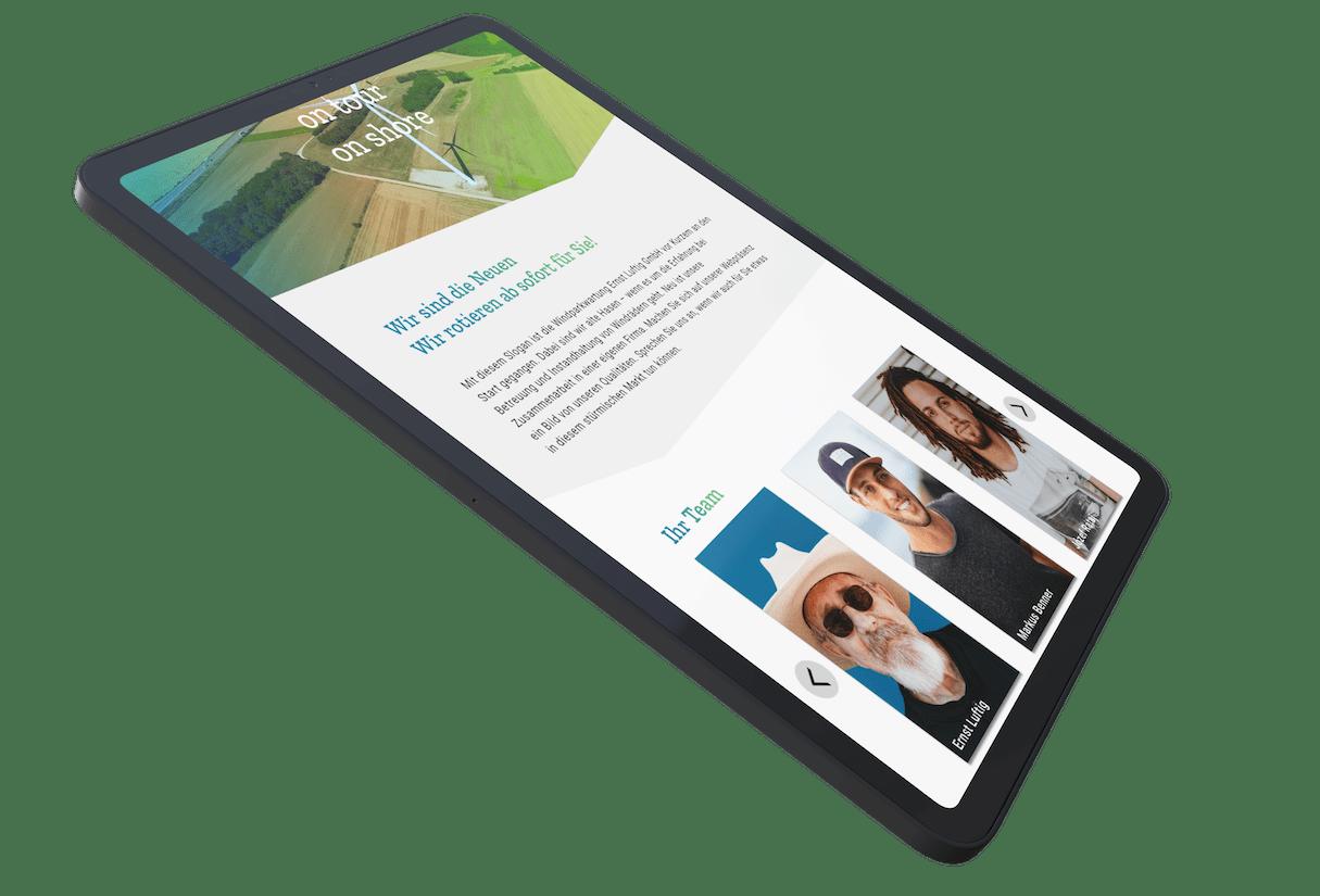 Screendesign der Startseite auf einem schwebendem iPad-Mockup