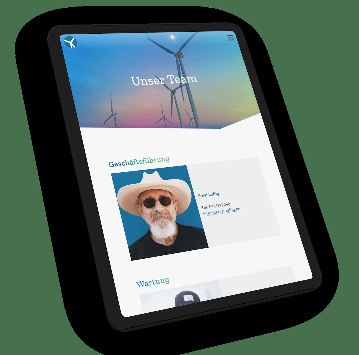 """Das Screendesign der Unterseite """"Kontakt"""" auf einem schwebendem iPad Pro-Mockup"""