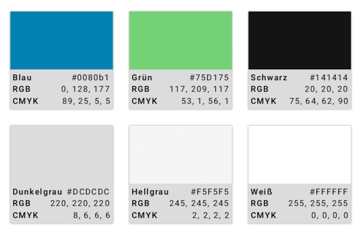 Die Farbauswahl für das Ernst Luftig-Projekt. Von oben links: Marineblau, Golfrasengrün, Schwarz, Betongrau, Hellgrau, Weiß