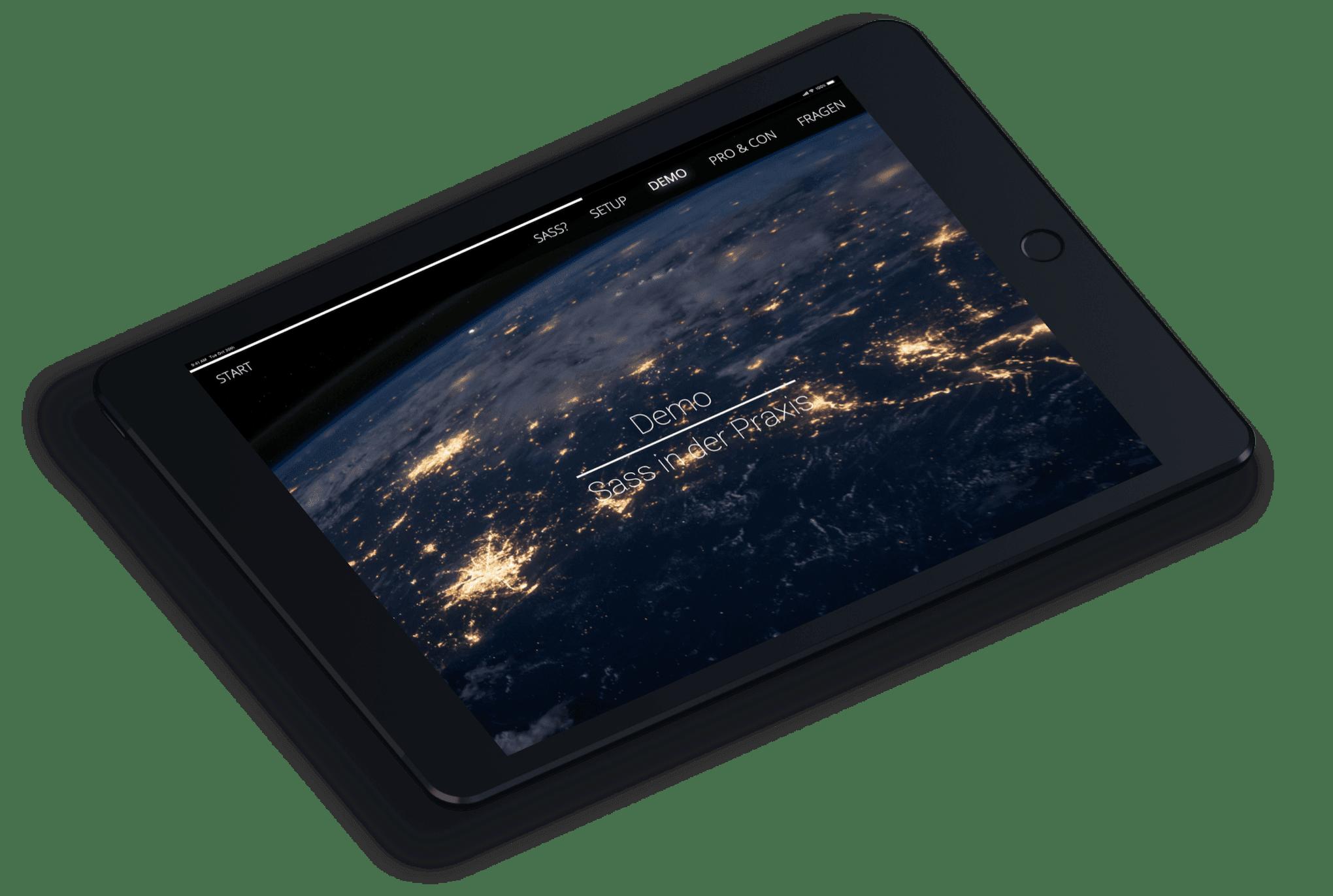 Demosektion der SASS Webseite auf einem schwebendem iPad Mockup