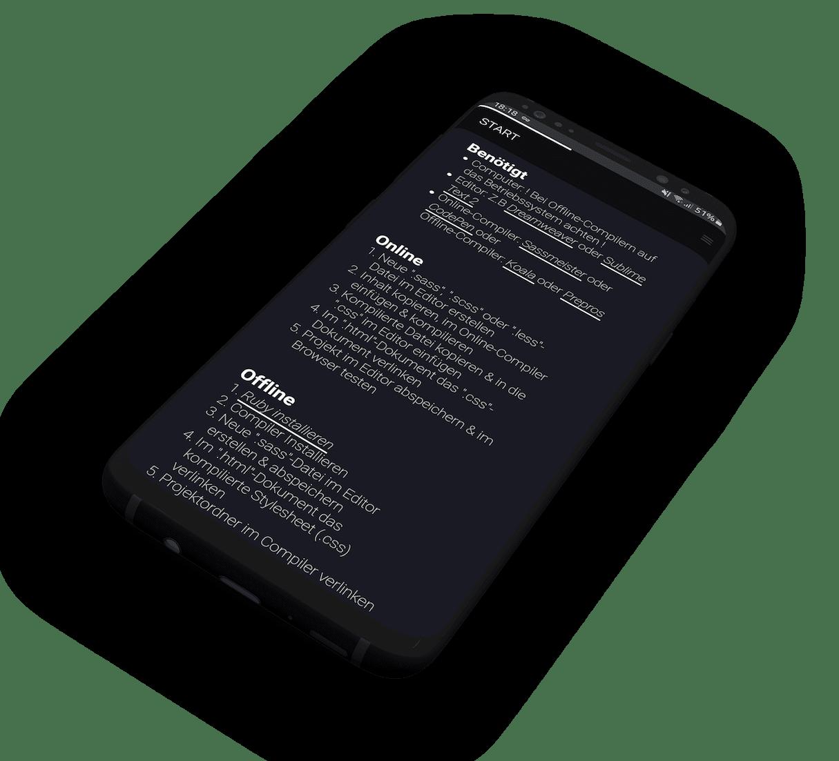 Setupsektion auf einem schwebendem Samsung Galaxy Mockup