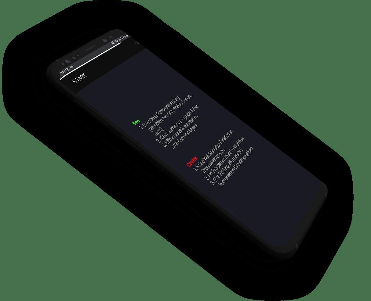 Pro undContrsektion auf einem Samsung Galaxy Mockup