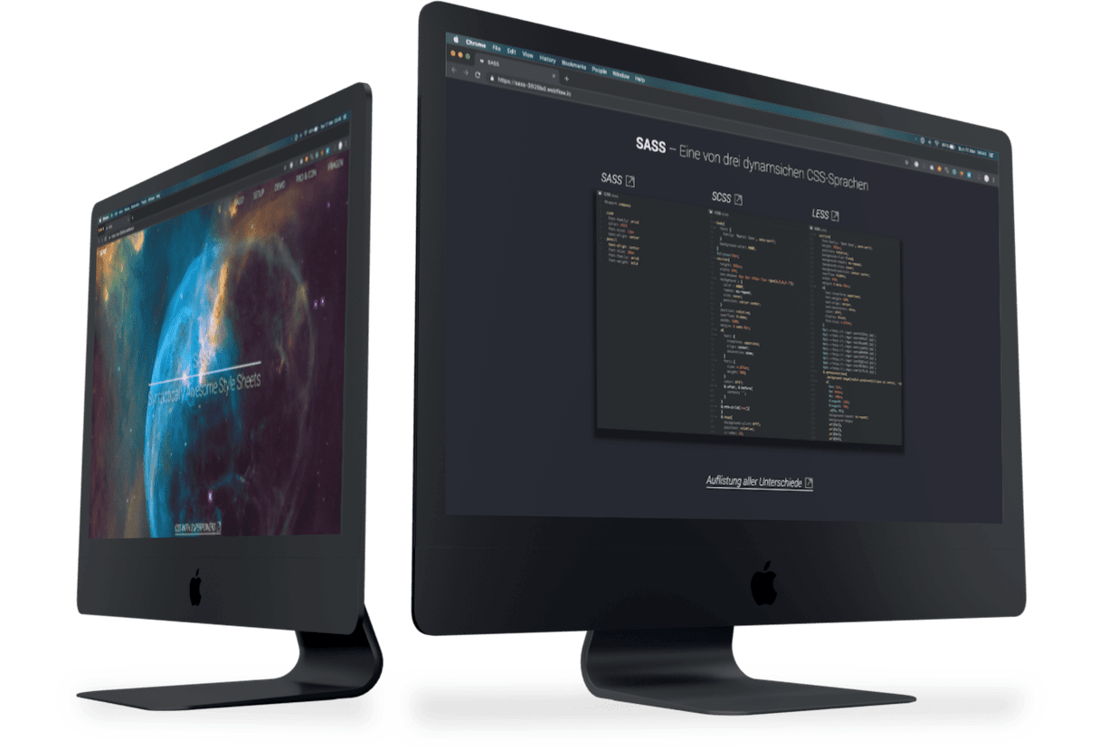 Startsektion und SASS-Sektion auf zwei iMac-Mockups