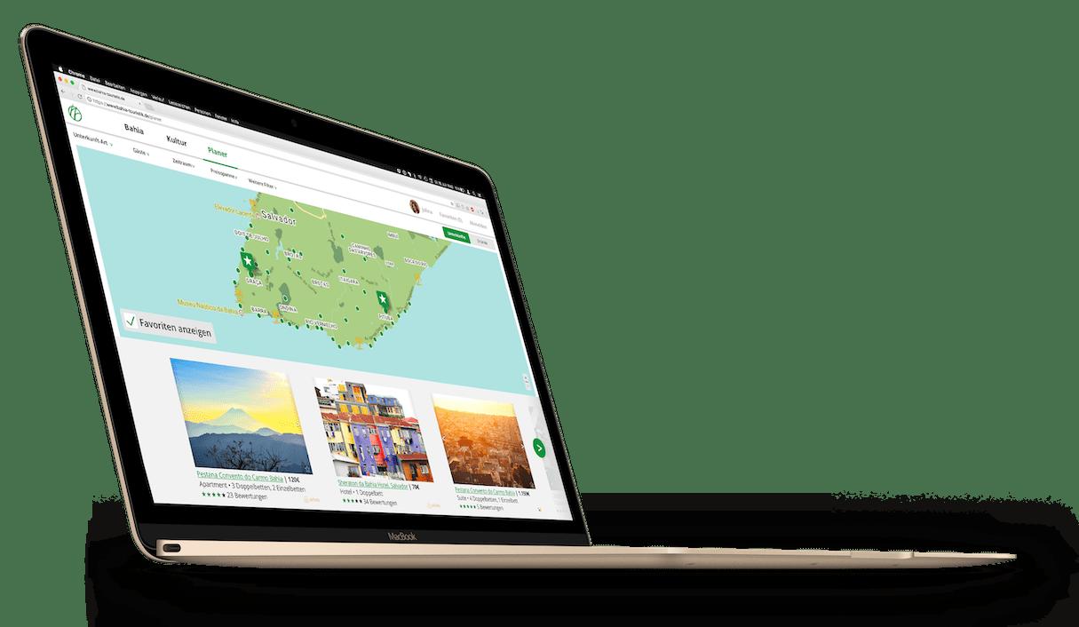 Die Planerseite auf einem stehenden, goldfarbenden MacBook Mockup