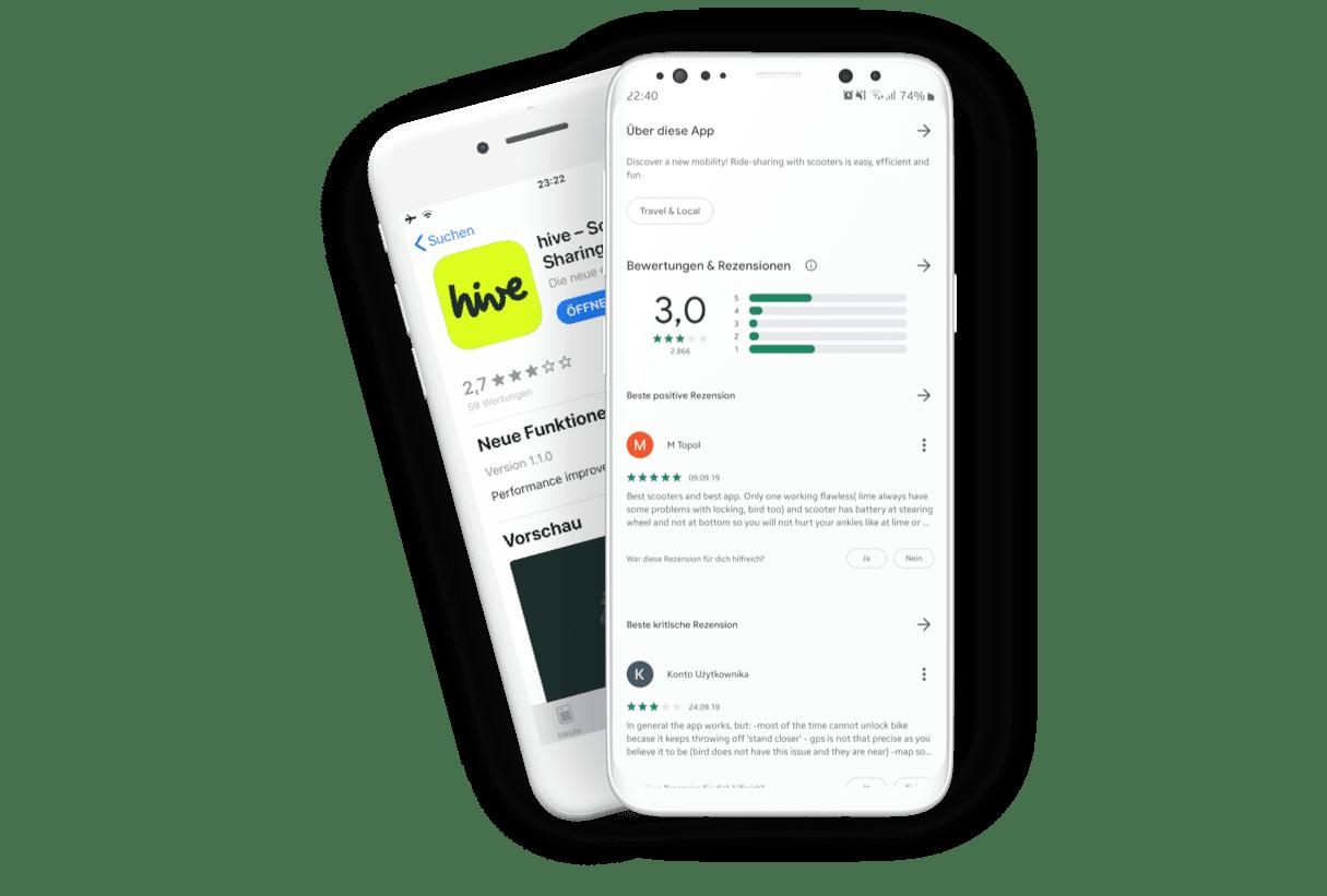 Kritische Bewertungen der Hive-App in den App Stores: Apple App Store 2,7 Sterne, Google Play Store 3,0 Sterne (Stand: August/September 2019)