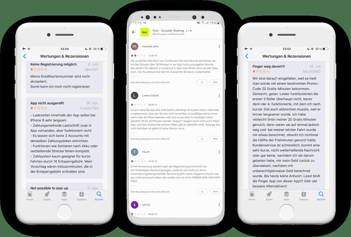 Screenshots der Ein-Stern-Bewertungen zu Hive in den App Stores