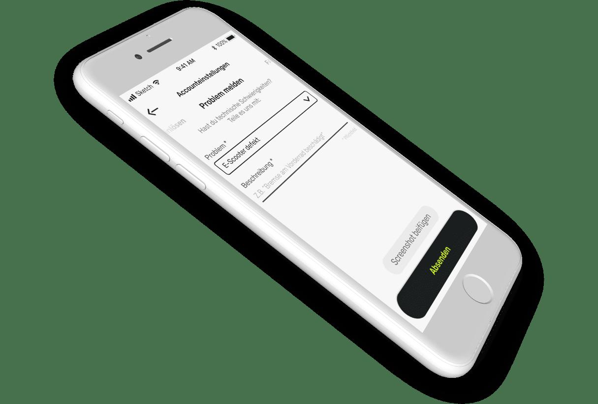 """iPhone-Mockup des """"Problem melden""""-Screens"""
