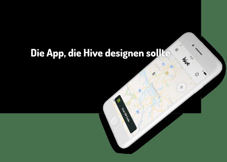 Die App, die Hive designen sollte (Bild eines iPhone-Mockups mit der Kartendarstellung in der aktuellen Hive-App)