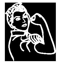 ícone de uma mulher fazendo muque simbolizando o poder de realização e mãos (femininas) às obras