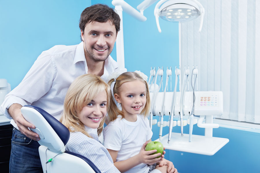 Family at the dentist office