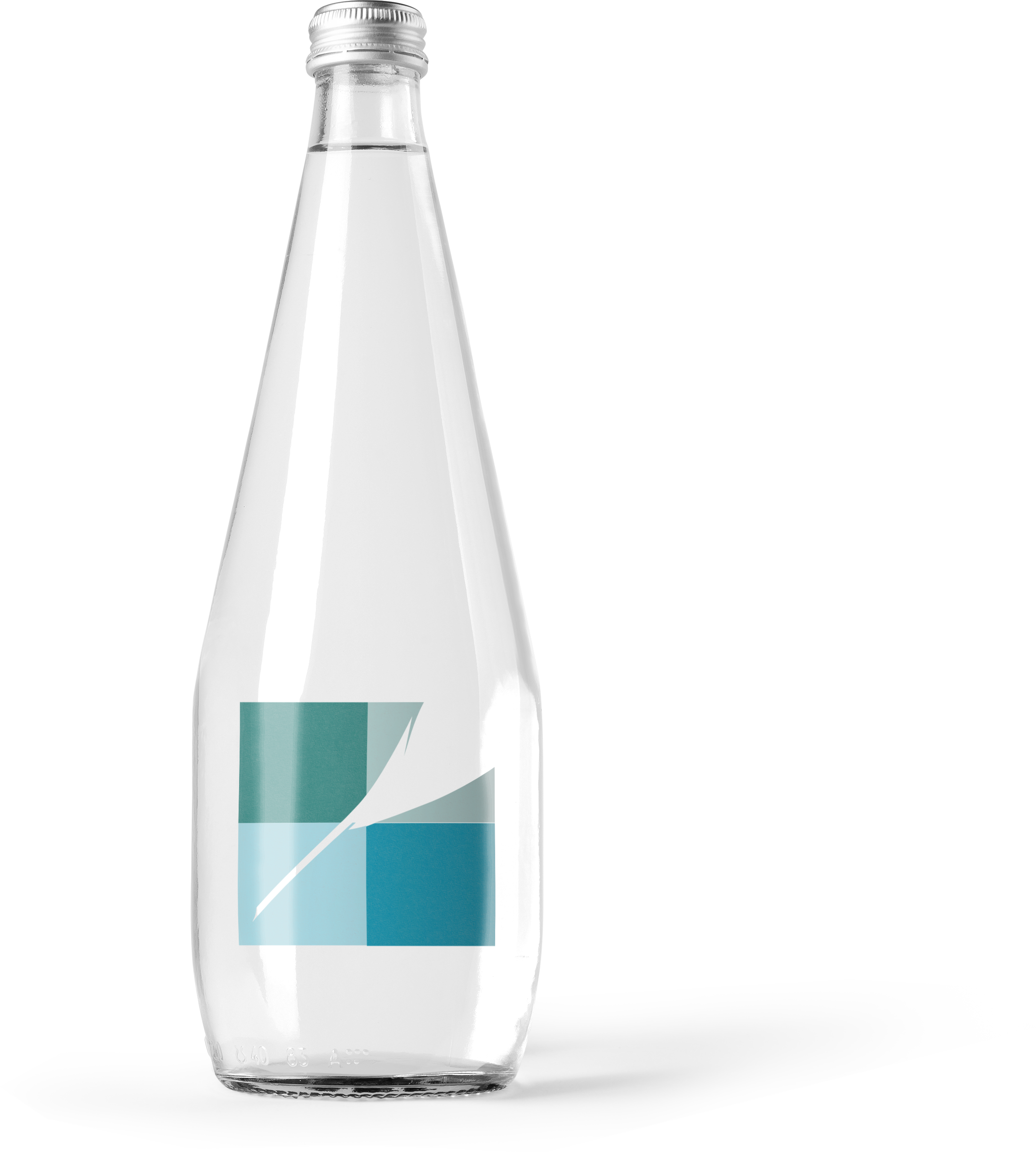 clear water bottle with meticulous graphics logo
