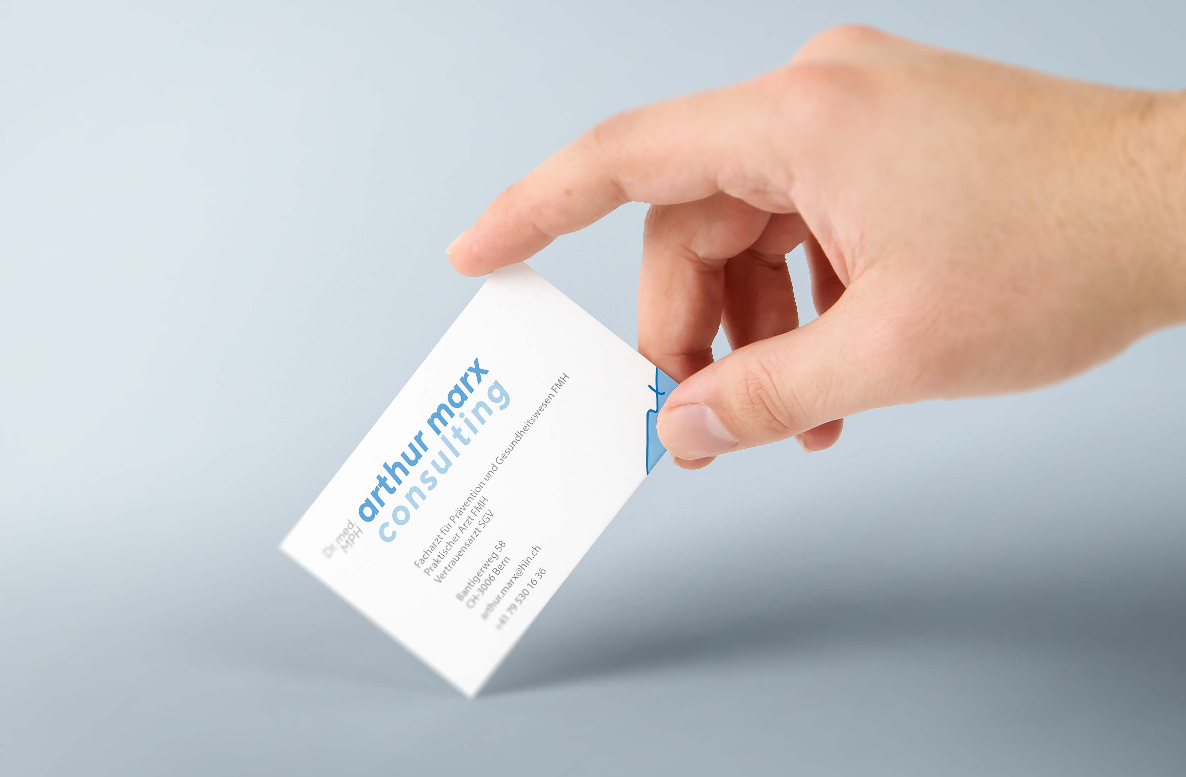 example of work: business card for medical expert