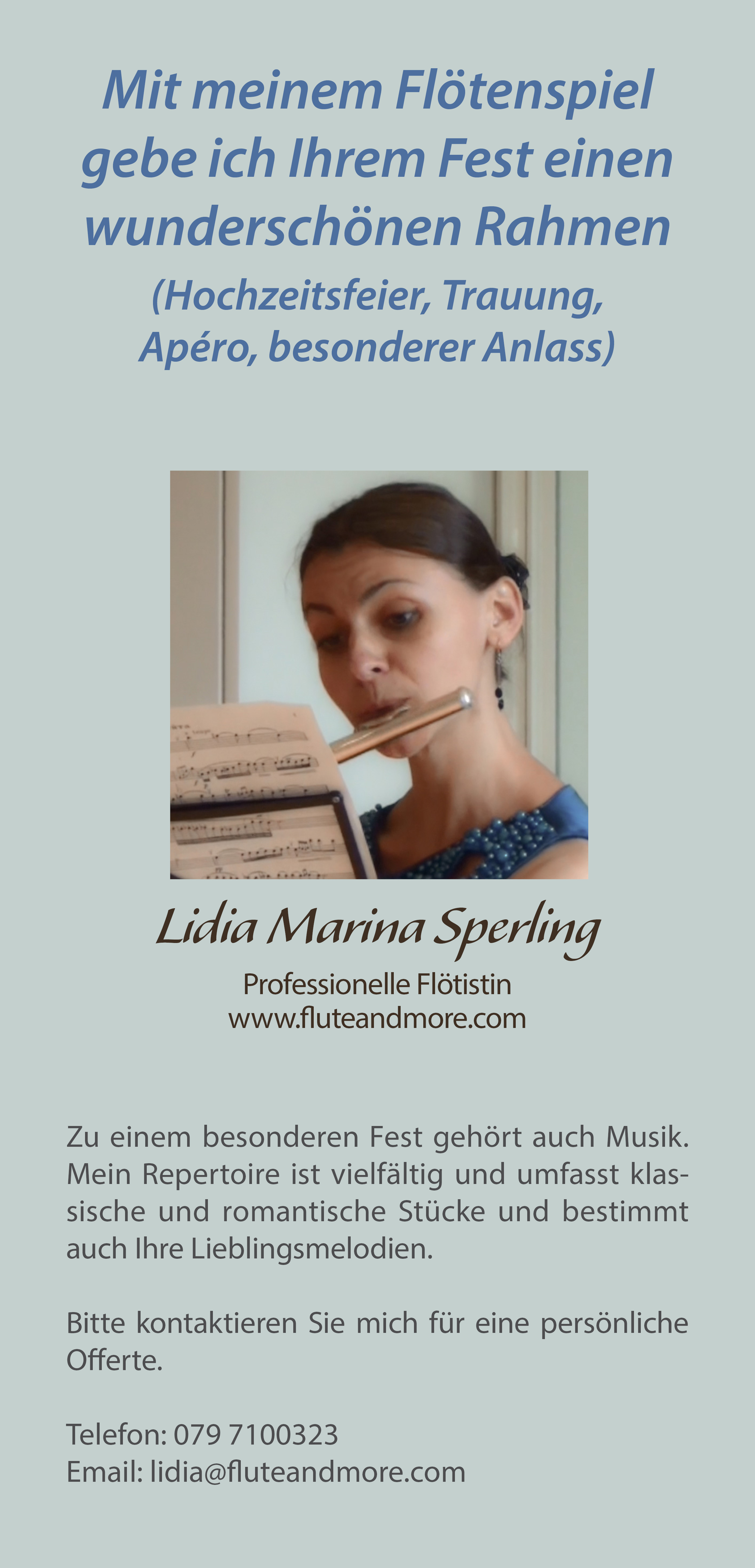Flyer for private flute concerts