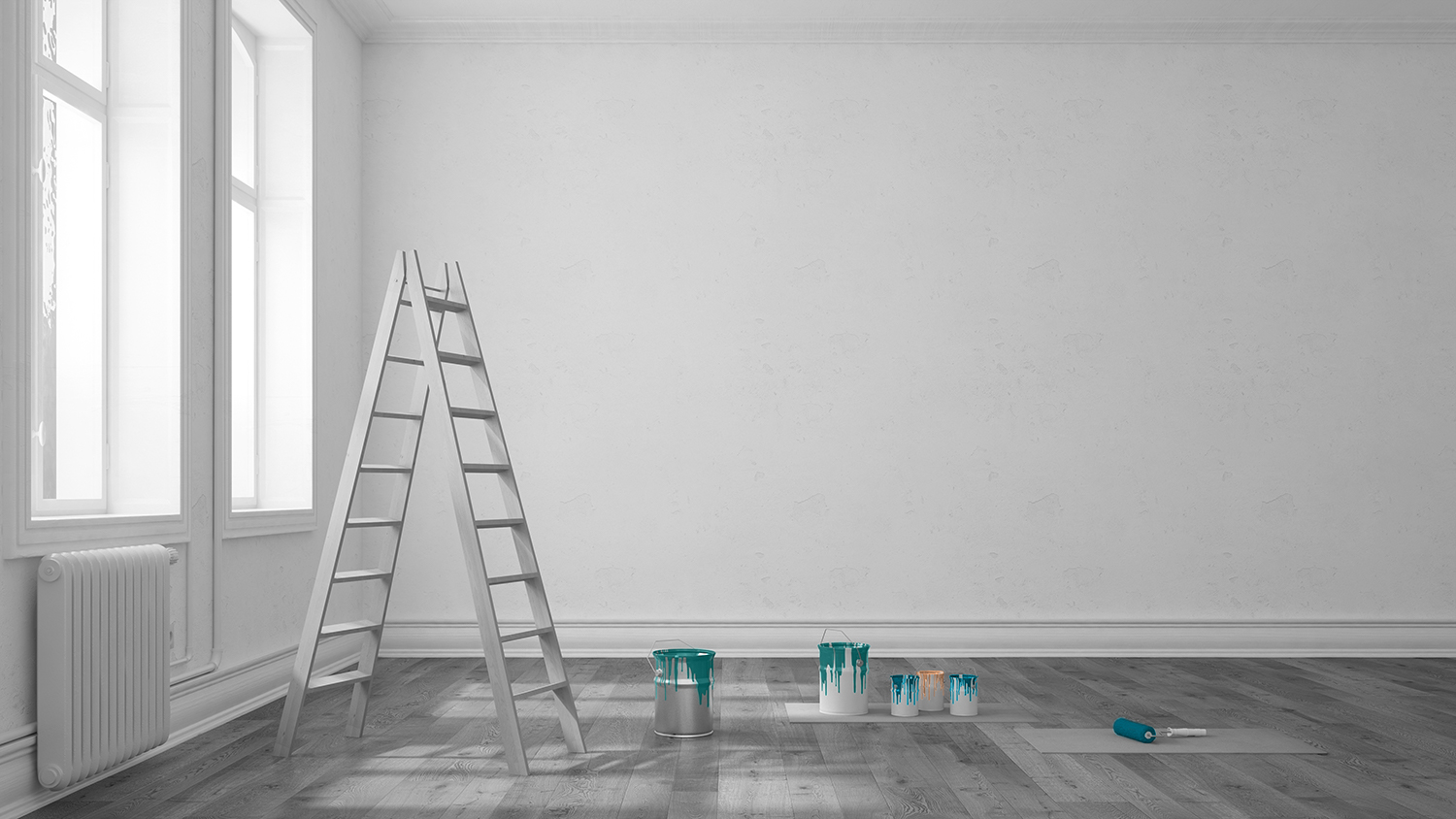 photo of room with ladder and paint buckets ready for renovation work