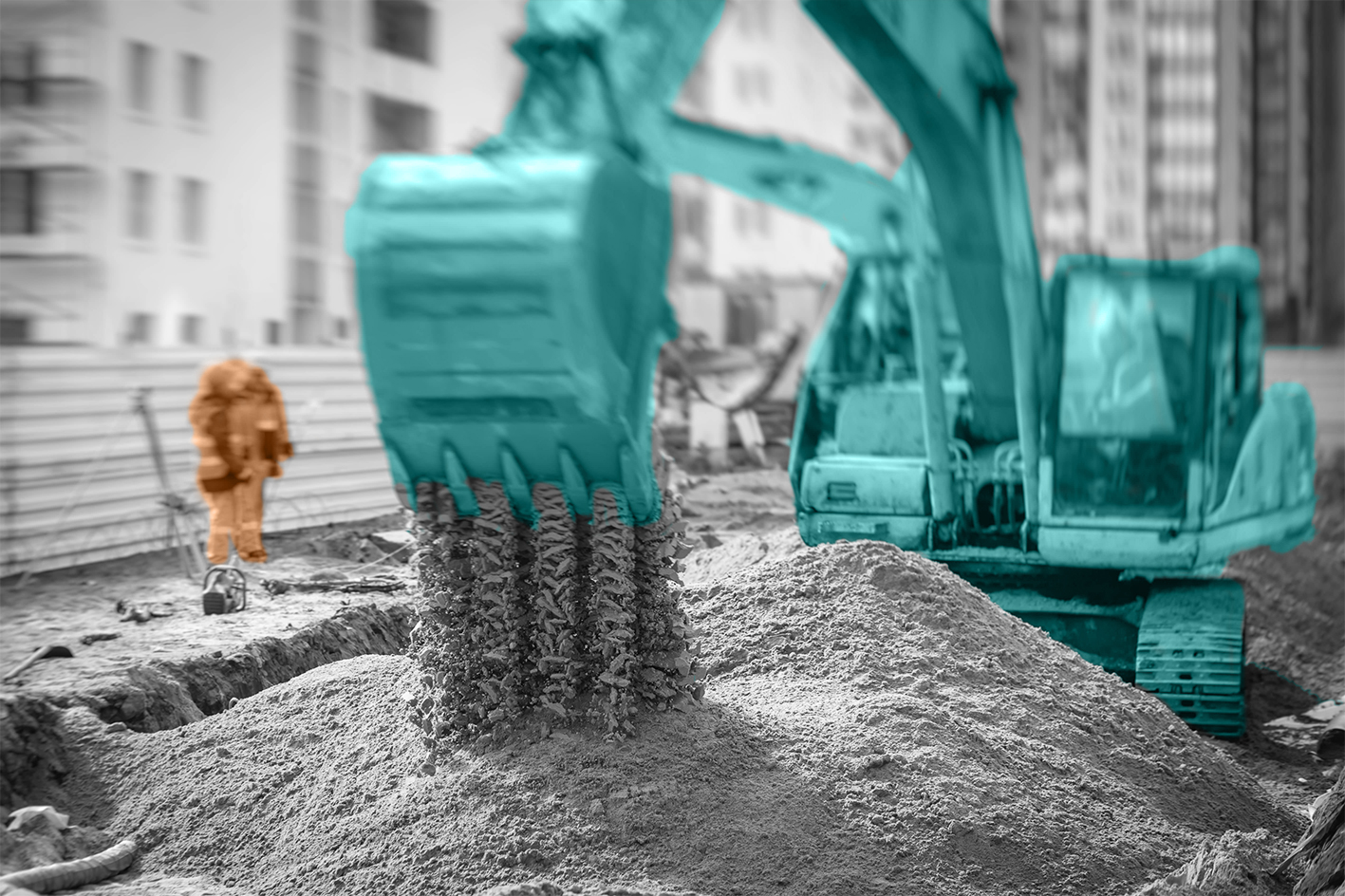 photo of construction site with excavator