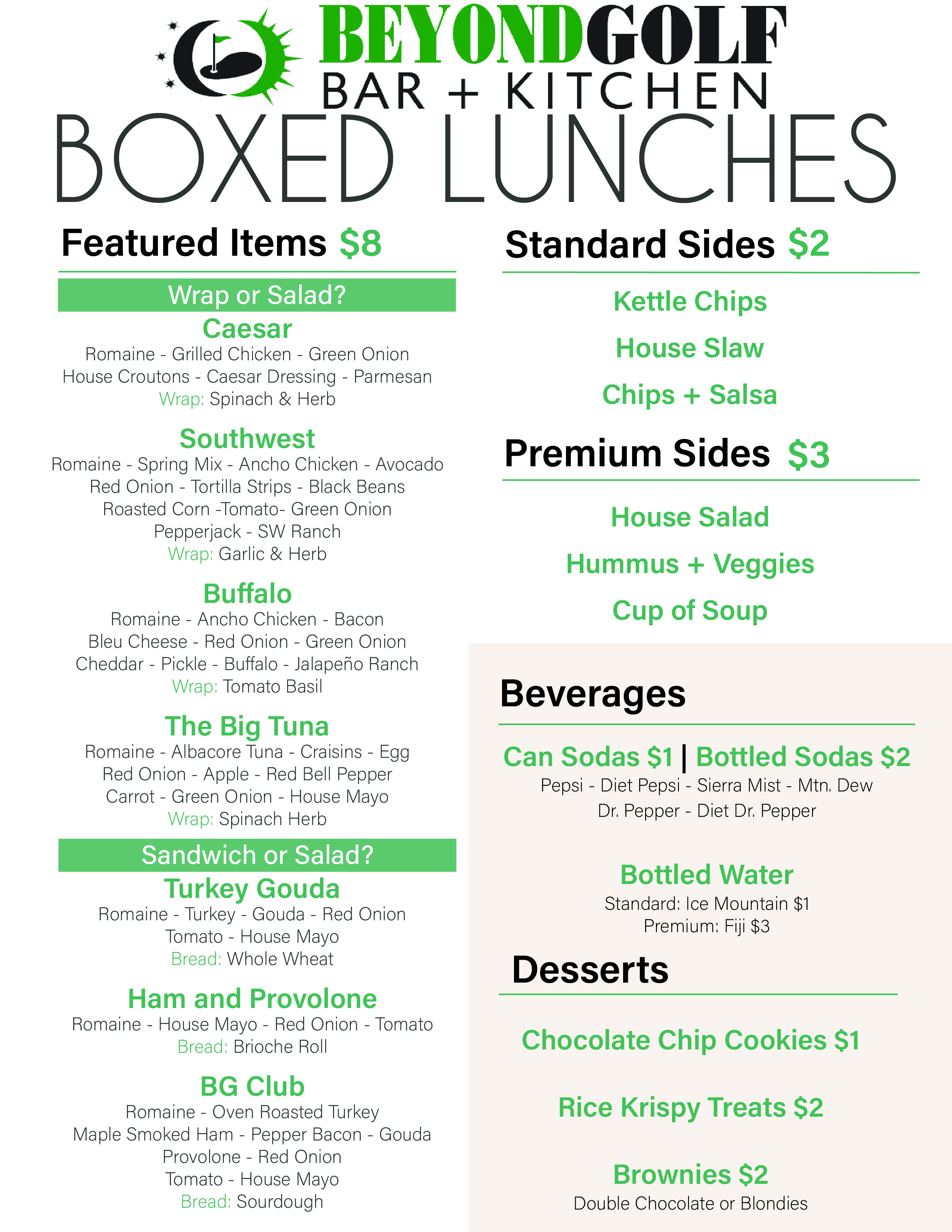 Boxed lunches menu