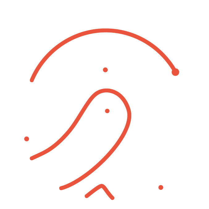 Brand Identity Icon with a red and white fingerprint in minimal lines