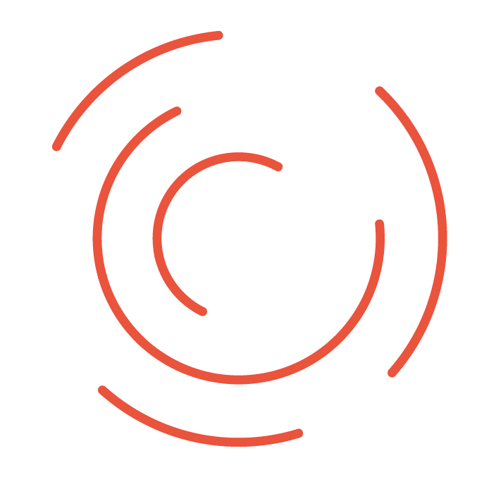 Marketing Icon with red and white target in minimal lines