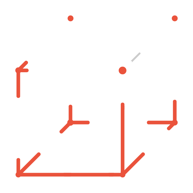 Custom Design Icon with red and white cube being constructed in minimal lines