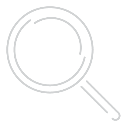 SEO Icon –Minimal line design style in white showing magnifying glass
