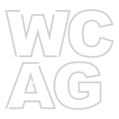 WCAG Icon –Minimal line design style in white showing web accessibility guideline letters