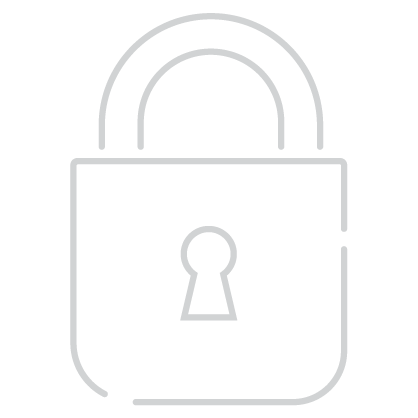 Security Icon – Minimal line design style in white showing padlock