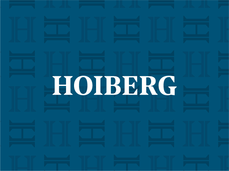 Hoiberg Logo over blue background with H brand pattern