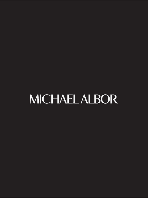 Michael Albor logo in white over black background