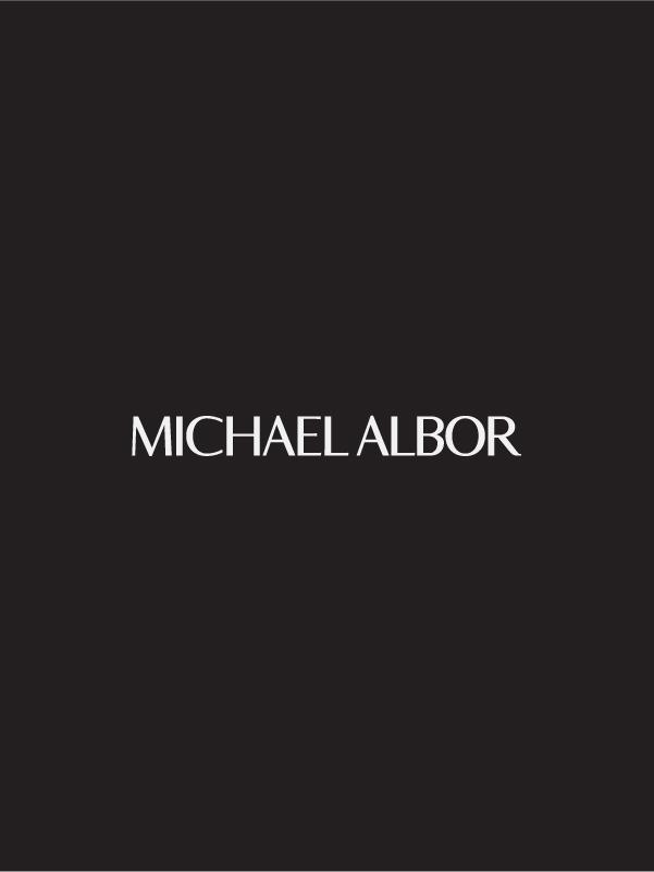 Michael Albor logo in white over black background