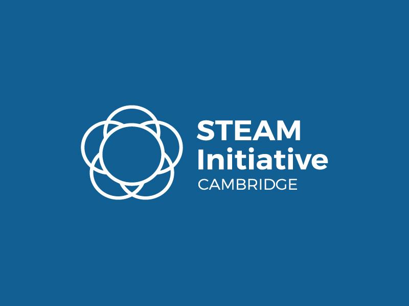 Cambridge STEAM Initiative logo in white over blue background