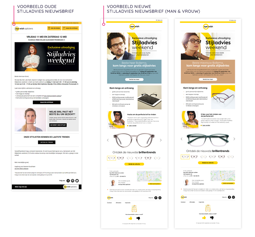 voorbeeld oude en nieuwe stijladvies nieuwsbrief Eye Wish