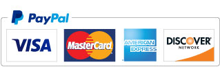 Logos for PayPal and accepted credit and debit cards