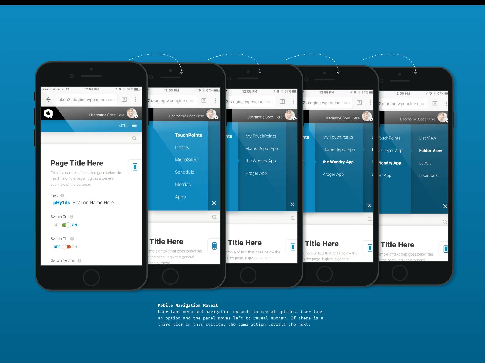 Phy Platform UX/UI Standards Mobile Navigation