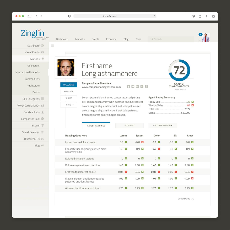 Zingfin UX, UI, Presentation, Pitch