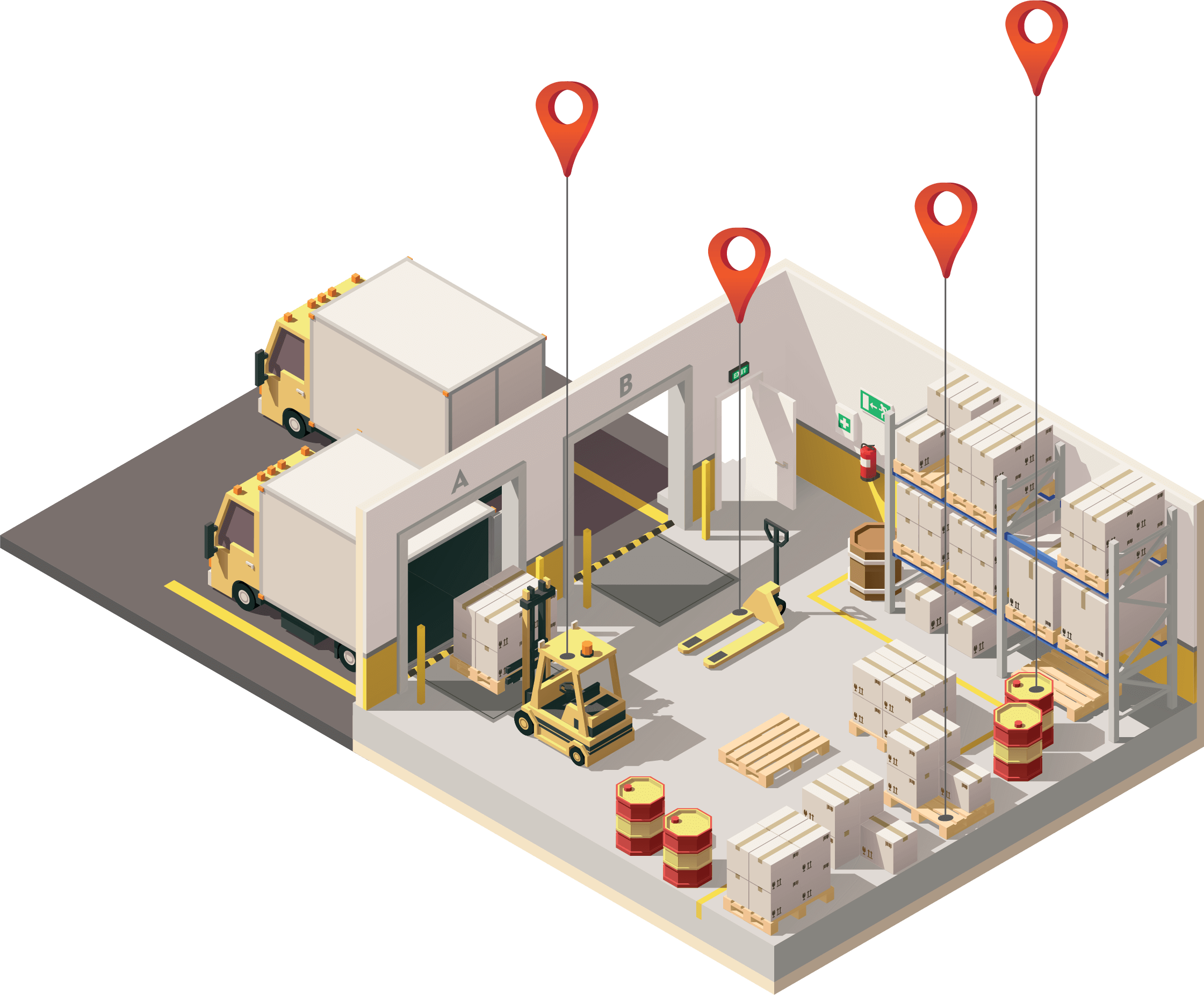 warehouse with RFID asset tracking system visualization