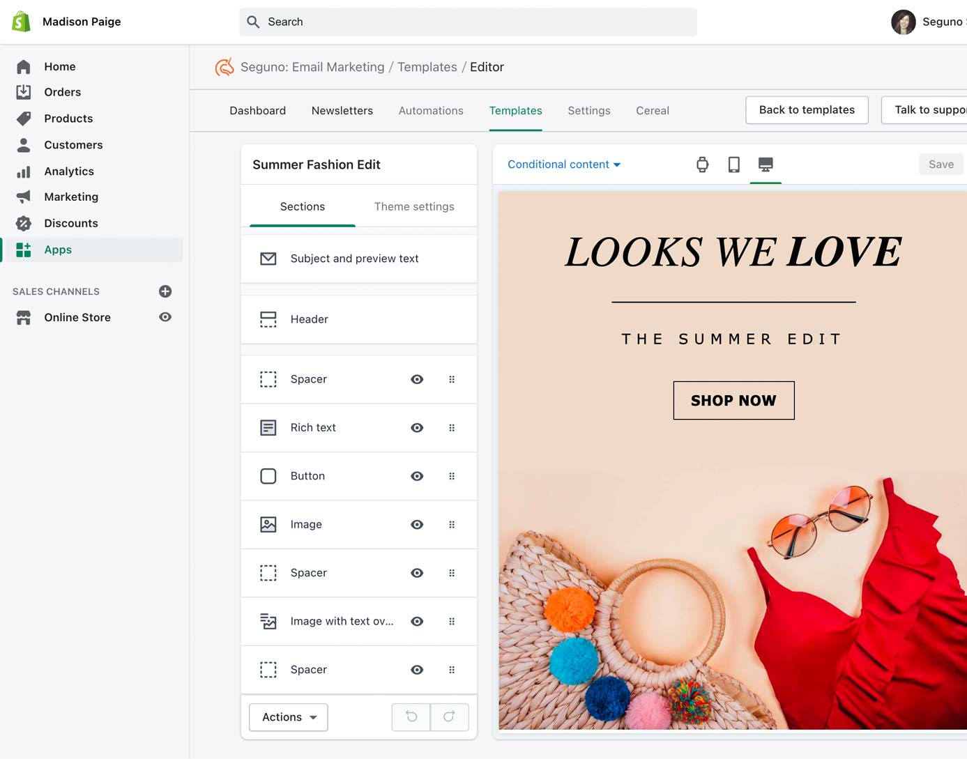 Use Seguno Email Marketing to create beautiful emails inside Shopify