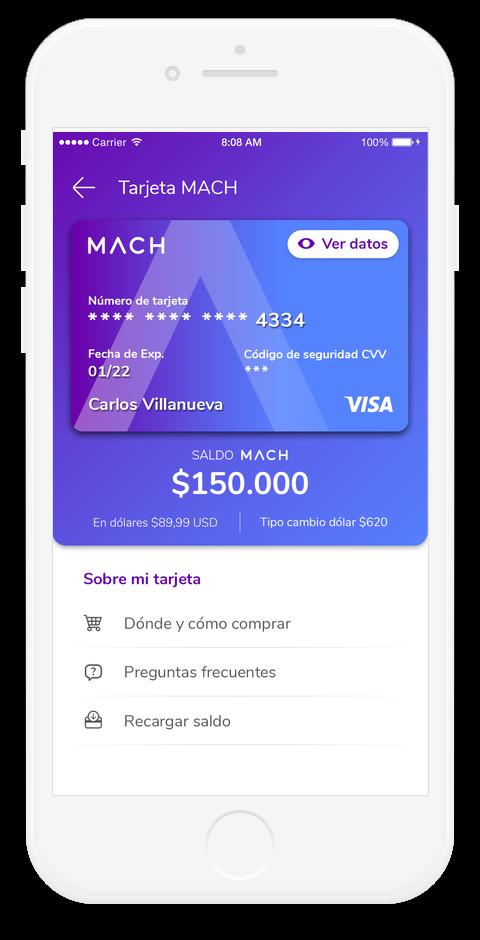 Tarjeta de crédito prepago virtual MACH