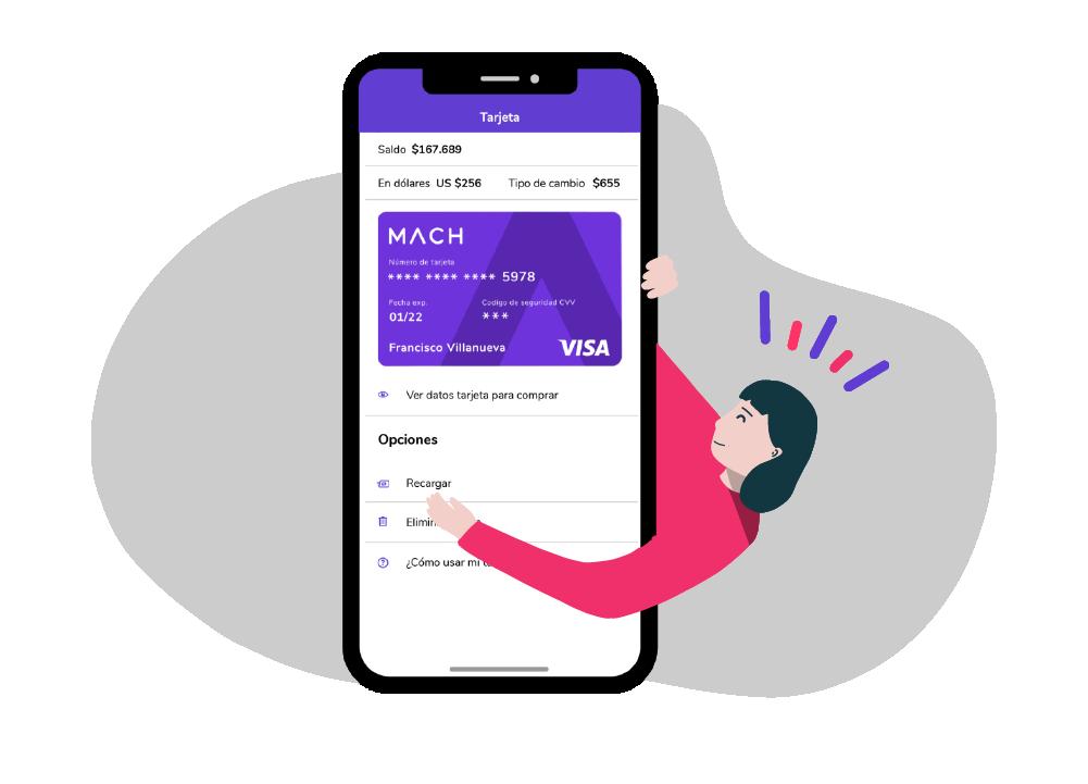Tarjeta crédito prepago internacional MACH para comprar online