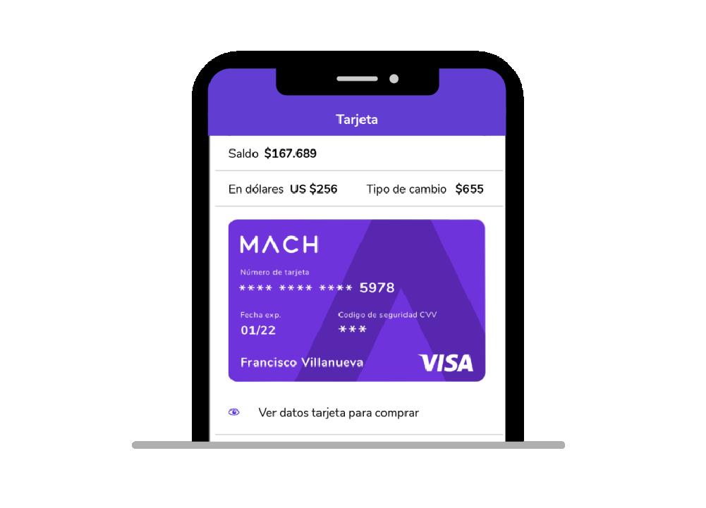 Tarjeta crédito prepago internacional MACH