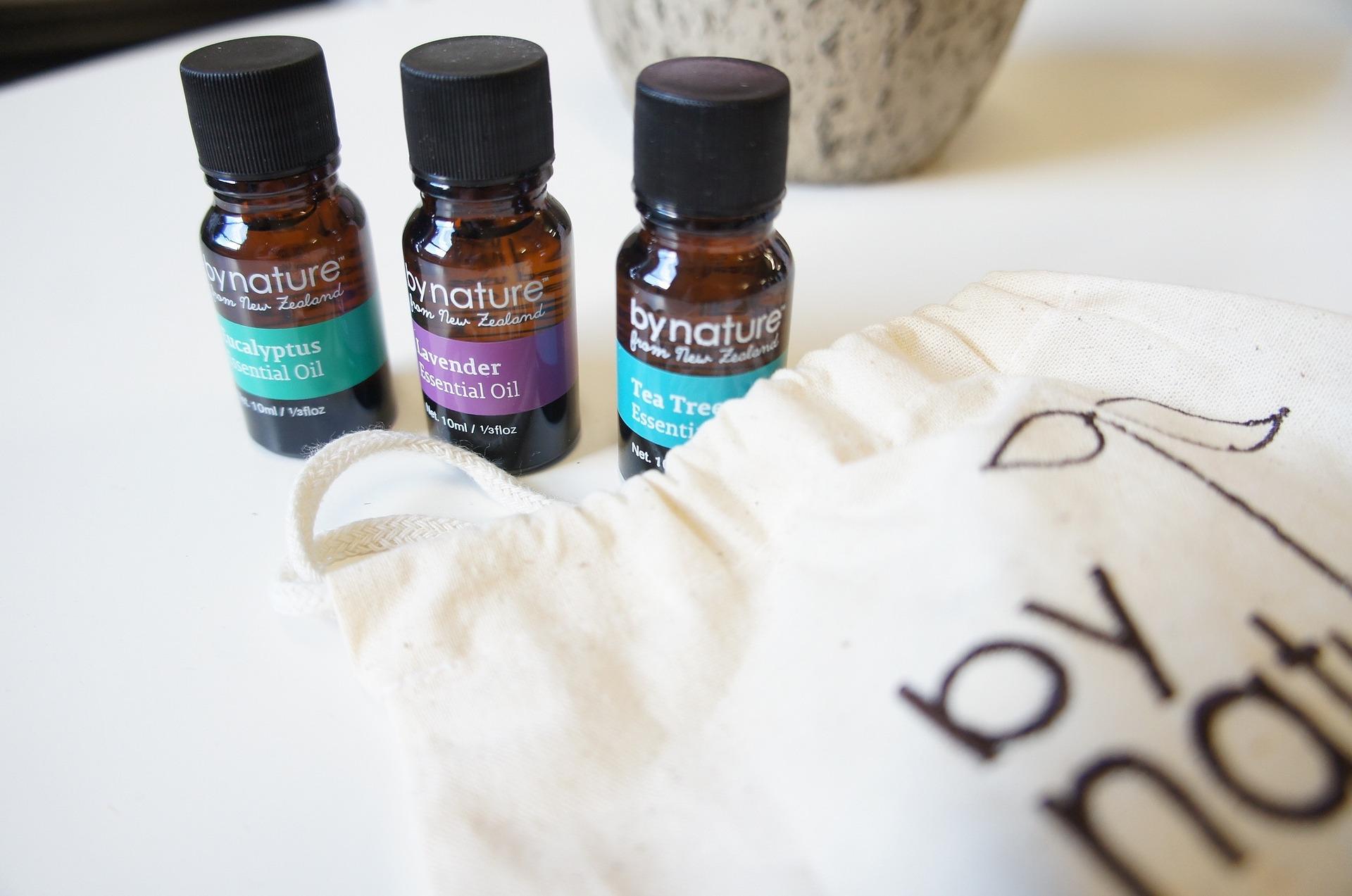 Essential Oils for Headaches: three oil bottles