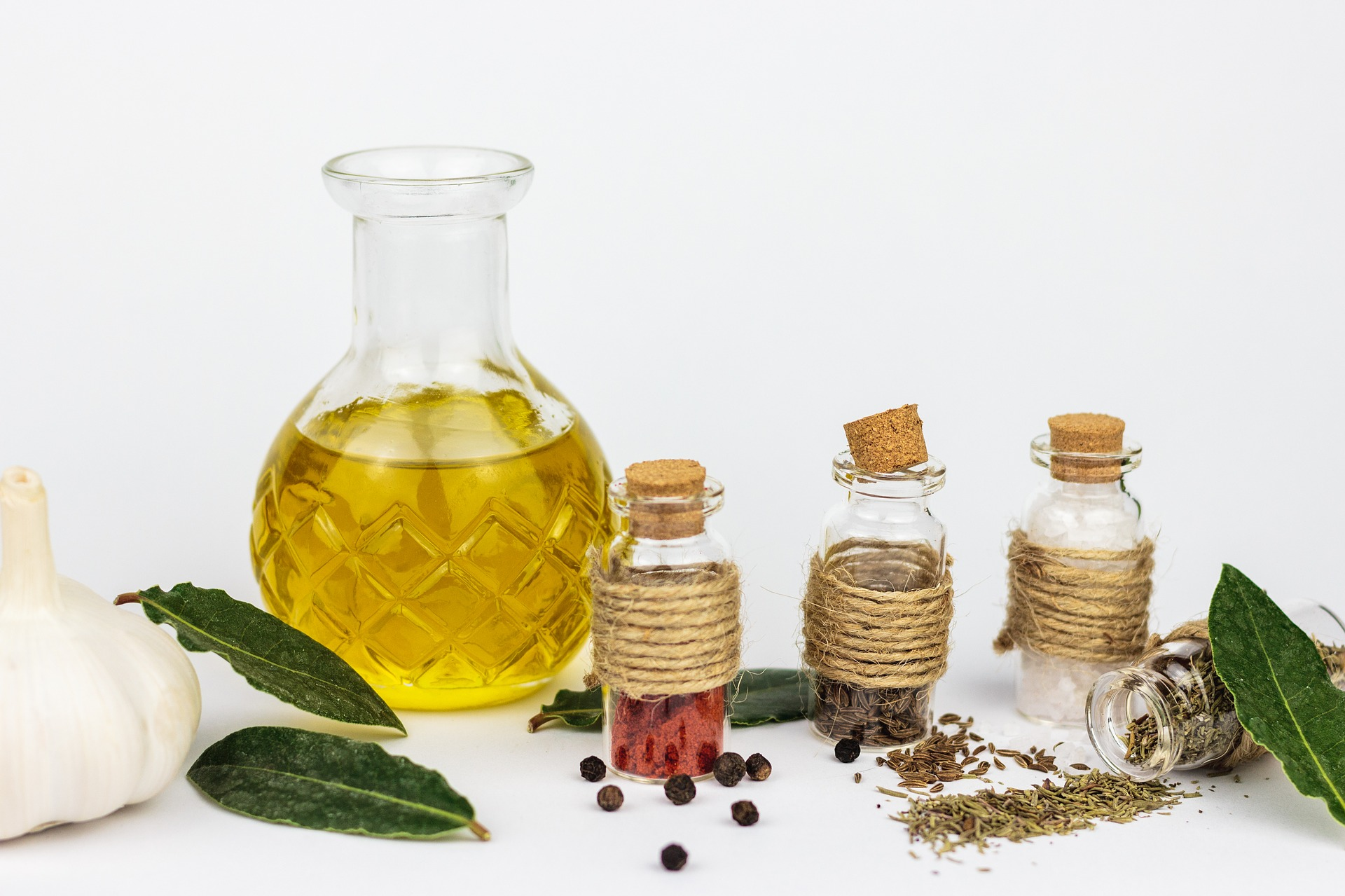 Essential Oils For Allergies: bottles with seeds