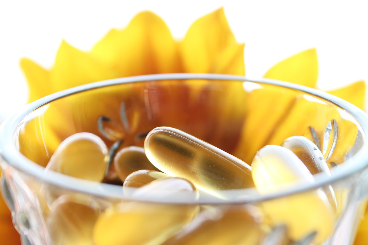 Energy Supplements: pills in a bowl
