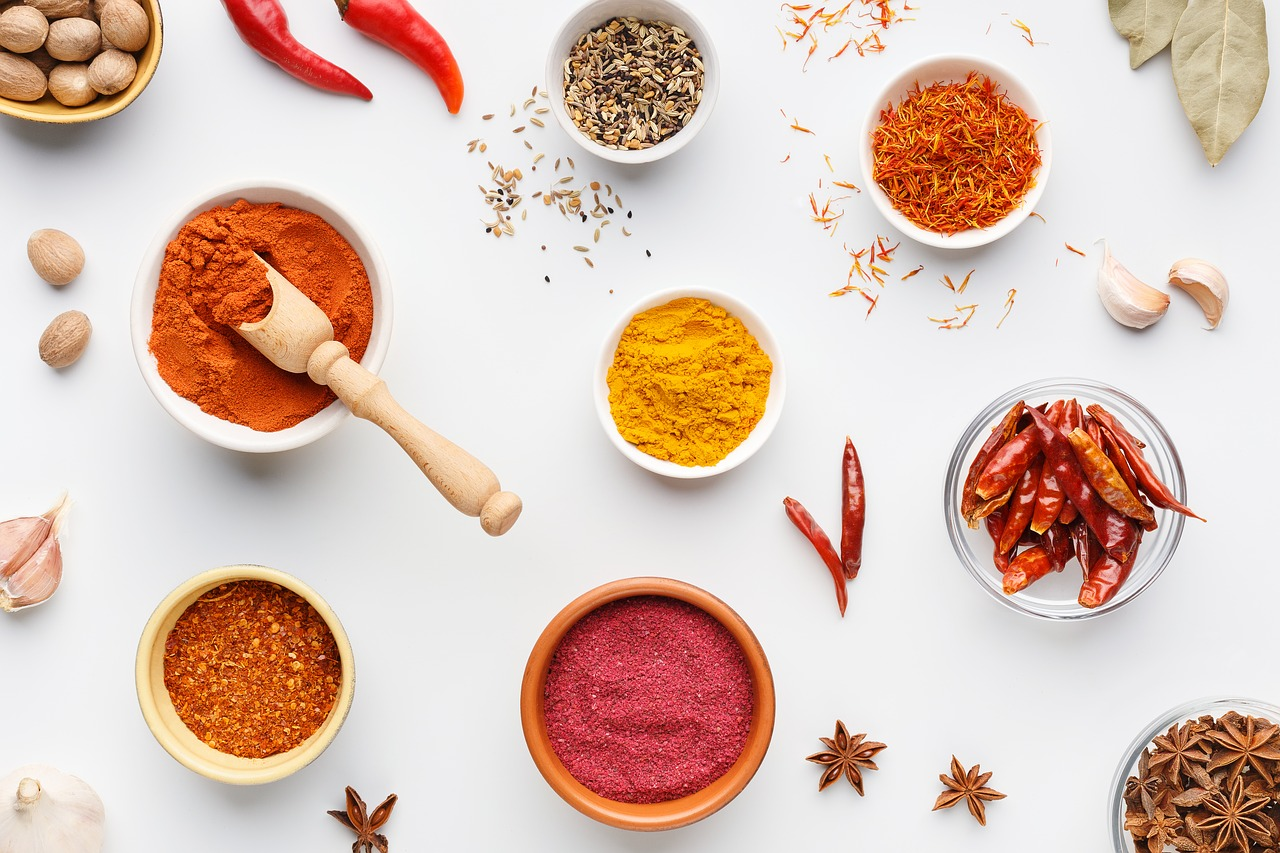 Turmeric and bright spices