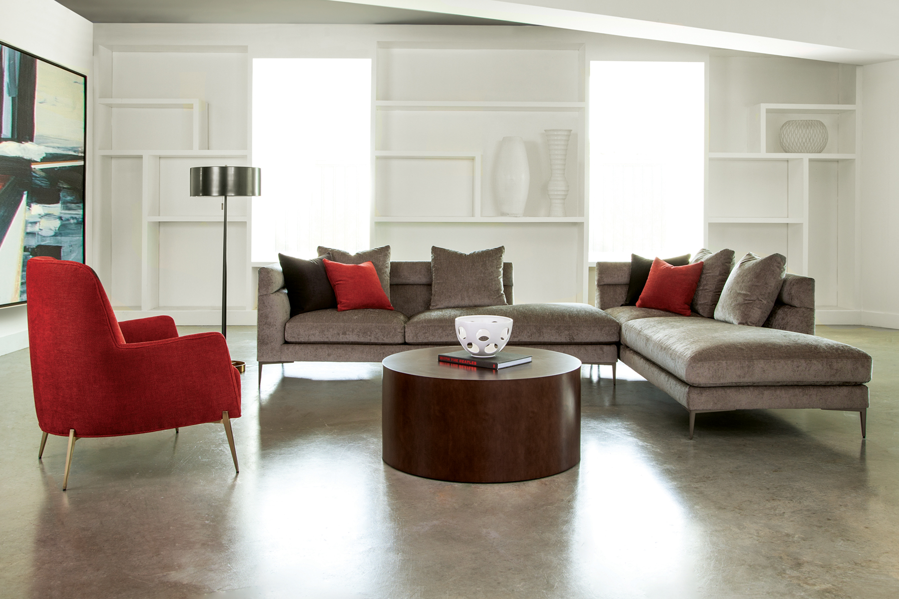 Slice sectional and Mia lounge chair from Thayer Coggin
