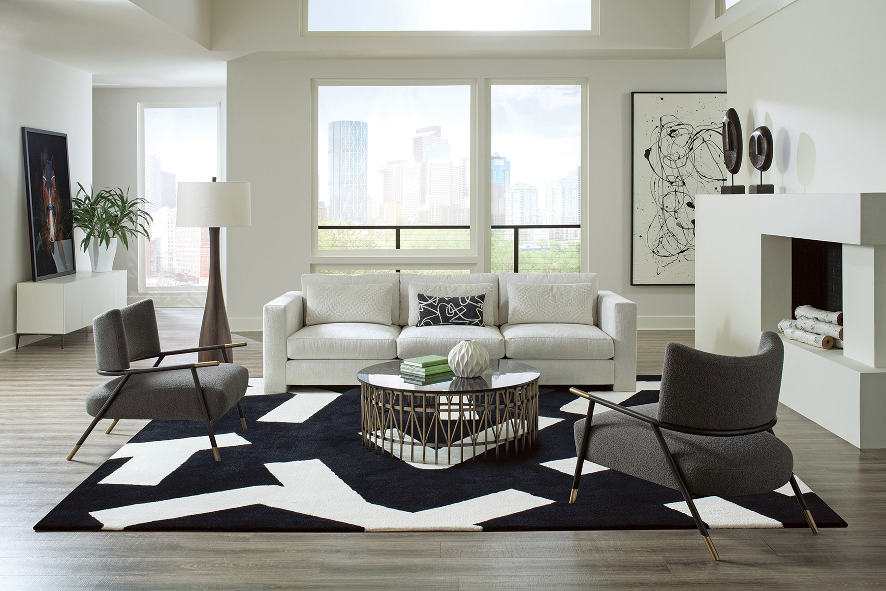 Kai lounge chairs and Straight Up sofa from Thayer Coggin