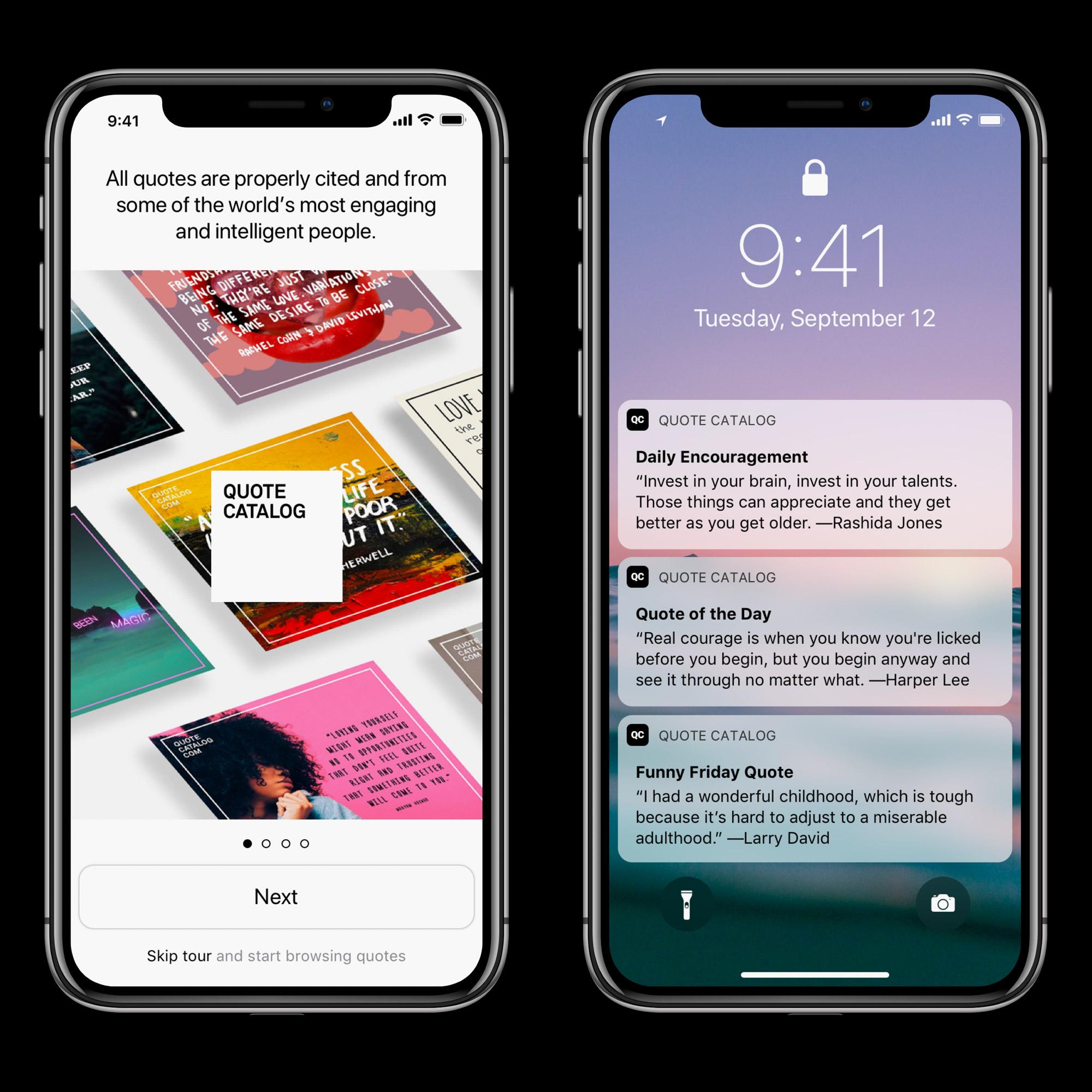 Quote Catalog quote app for  iOS