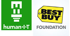 human-I-T wins Best Buy Foundation grant (logos)|human-I-T and Best Buy logo|human-I-T & Best Buy Foundation logo