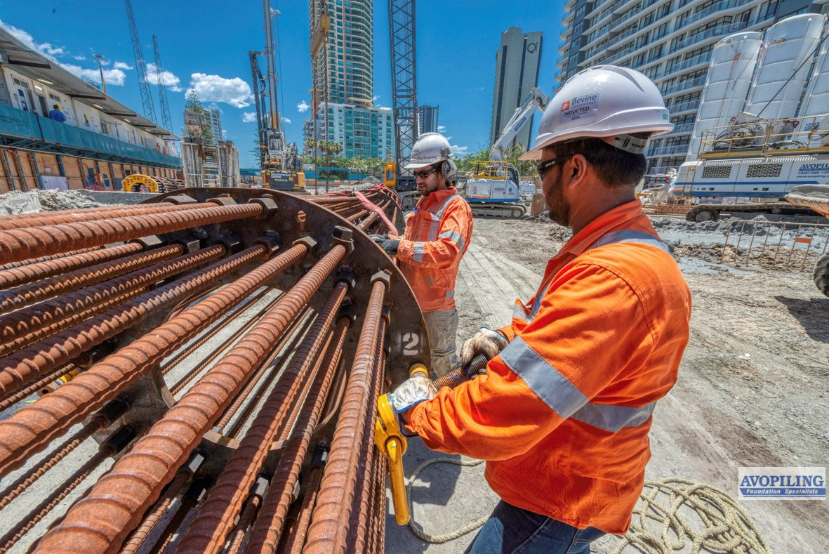 Professional construction photographer supplied by Rapax Construction Photography showing the steel fixing for the foundations of the new Oceans Apartments,