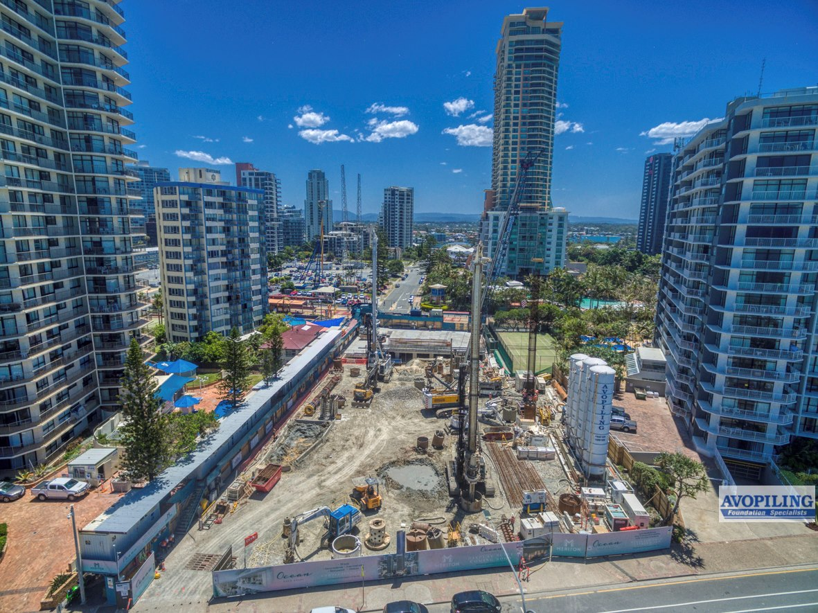 Aerial photography of the Oceans Apartmenton the Gold Coast of South East Queensland (SE Qld), captured using a professional construction photographer from Rapax Construction Photography.